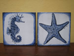 Custom tile with blue marine design