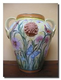 Big vase with double handles and flower design